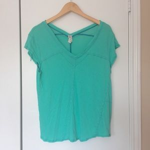Free People We the Free Mint Fade VNeck Grunge Tee